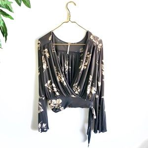NWT • Free People Bell Sleeve Wrap Blouse.